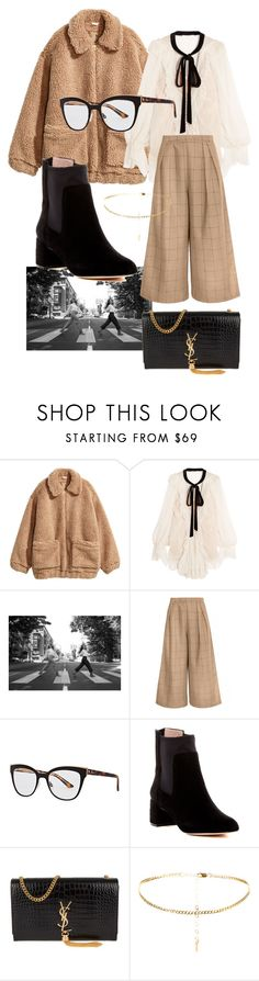 """""""textures"""" by thegivenchree ❤ liked on Polyvore featuring H&M, Chloé, SOREL, Christian Dior, Taryn Rose and Yves Saint Laurent"""