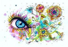 Inside glow print version Svenja Jödicke is a traditional artist from Berlin, Germany, who has created mind blowing eye art paintings. Svenja loves to Zantangle Art, Zen Art, Illustrations, Illustration Art, Quilling, Eyes Artwork, Portraits, Doodle Art, Art Blog