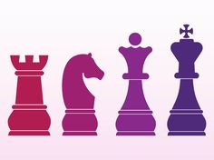 Vector graphics of different chess pieces. Bright colored silhouette graphics of a rook, knight, king and queen in different colors. Free vector images to design boardgames, hobbies, professional chess players, tournaments and spare time visuals. Chessmen for logos and icons. Chess Pieces by AllSilhouettes.com 0/BYCG