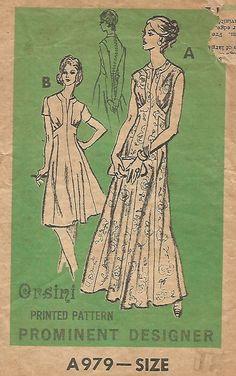 VINTAGE PROMINENT DESIGNER - ORSINI ELEGANT EVENING DRESS SEWING PATTERN #DaisyKingdom