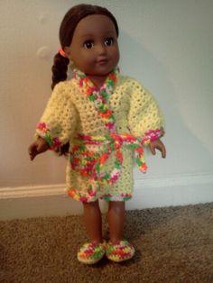 American Girl Crochet bath robe