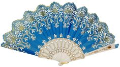 Folding Silk Hand Fan 9  Aquamarine Blue with Gold Flower Pattern and White Handle