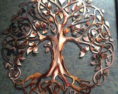 Tree of life , copper/flame patina Willow Tree Tattoos, Celtic Tree, Tree Of Life, Vikings, Copper, Art Prints, Decor, Tattoo, The Vikings