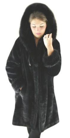 """Silk and Sable Black Beaver with Fox 36"""" Hooded Faux Fur Parka $89.00"""
