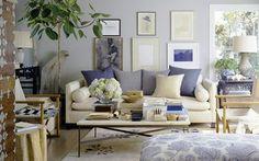 Decoração sala de estar em tons de azul | Eu Decoro