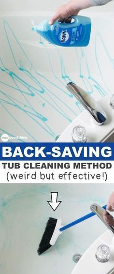 Must-Read Cleaning Tips, Tricks And Hacks (for the home and more!) This cleaning hack for the bathtub will save your back and your time! A list of cleaning tips and tricks for lazy people (for the bathroom, bedroom, kitchen and more! Deep Cleaning Tips, House Cleaning Tips, Diy Cleaning Products, Cleaning Solutions, Bathroom Cleaning Hacks, Spring Cleaning Tips, Bathroom Cleaning Tips, Cleaning Supplies, Apartment Cleaning