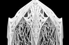 "Detail of ""SENSE OF GOTHIC"". Few days workshop in BARTLETT UCL with Benjamin Dillenburger. This work has been done by FILAMENTRIC - Yiwei Wang, Nanjiang, Yichao Chen, Zeeshan Yunus Ahmed"
