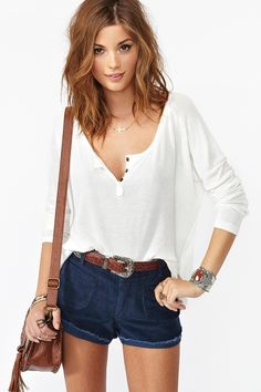 Casual summer outfit. love the white blouse:)