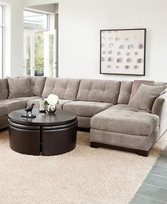 Our first step . . . new gray sectional sofa. Tons of room and comfy!