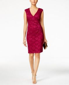 Connected Sequined Lace Sheath Dress | macys.com