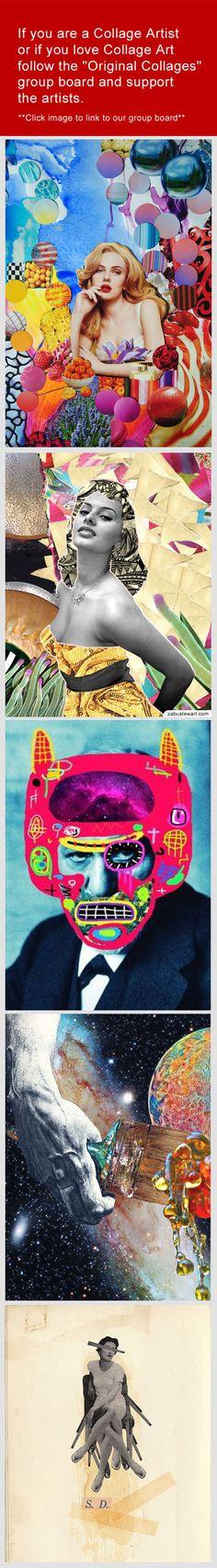 "Join or follow the  - ""Original Collages"" group board.  Prints are available for purchase.  ____________________________  Art by - John Turck, Zabu Stewart,  Andre Coronado Mendoza, Julia Lillard and Manu Duf.   ____________________________  Board URL -  http://pinterest.com/zabustewart/original-collages/"