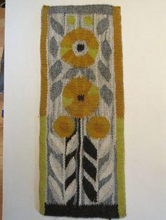 Beautiful swedish hand woven wall hanging / flemish/  flowers/rare