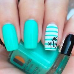 This summer, channel your inner tropical goddess with these tropical nail design. - This summer, channel your inner tropical goddess with these tropical nail designs. Everything from palm trees to colorful hues! Tropical Nail Designs, Tropical Nail Art, Nail Designs For Summer, Style Tropical, Summer Design, Palm Tree Nails, Nails With Palm Trees, Super Nails, Cute Acrylic Nails