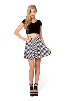 Houndstooth Skater Skirt by Black Milk Clothing $50AUD