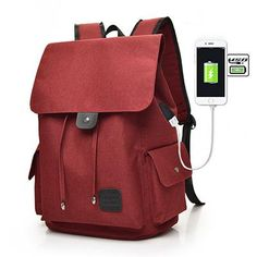 Fashion USB Charging Backpack. Casual Oxford Travel Backpack 80b413fd2c757
