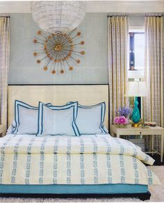House Beautiful May 2012.  Rose Tarlow print on duvet cover called Sea Leaves -- strikes the right balance between feminine and masculine.  Hillary Thomas Designs.
