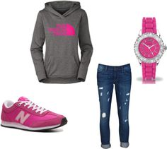 """pink sporty comfy"" by rachelecoopes on Polyvore"