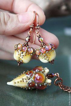 "Sets of handmade jewelry.  Fair Masters - handmade lampwork Set ""Wild Amazon"" lampwork beads, copper.  Handmade."