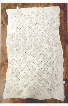 woven or embossed felt rug by Dana Barnes Studio Textile Sculpture, Textile Fiber Art, Textile Artists, Beige Carpet, Diy Carpet, Carpet Ideas, Embossed Fabric, Felt Wall Hanging, Scrappy Quilts