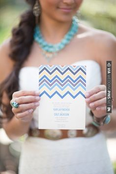 Blue Chevron Style Wedding Invitation | WEDDINGPINS.NET | #weddinginvitations2016