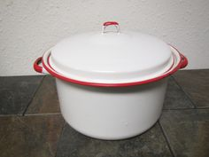 Large White Enamel Kettle and Cover with Red Trim ,  Enamelware pan, Enamel ware kettle by mauryscollectibles on Etsy