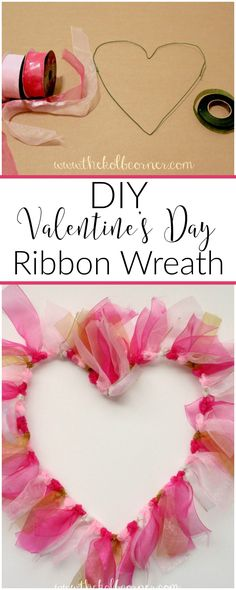 An easy DIY valentine's Day ribbon wreath made from floral wire and ribbon. I am so trying this!
