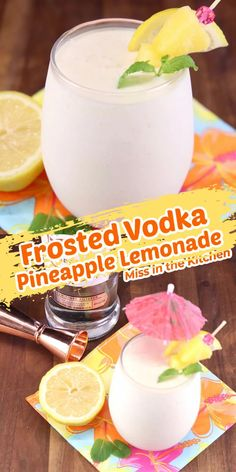 Frosted Vodka Pineapple Lemonade is a delicious dessert cocktail that is so easy to make! Based off of the popular Chik-Fil-A frosted lemonade with a tropical twist and a shot or two of vodka.