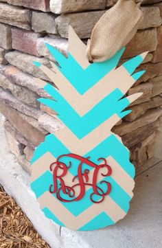 "20"" Pineapple Monogram Cutout Door Hanger, Custom Order on Etsy, $40.00"