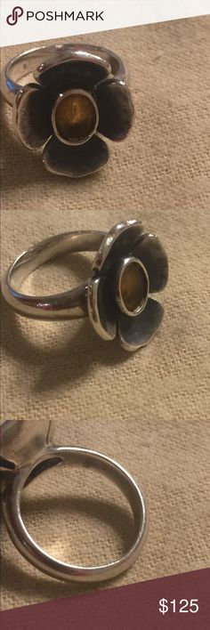 James Avery citrine flower ring Sz 6 RETIRED Sterling. Citrine stone. Size 6 normal wear. James Avery box included. HARD TO FIND James Avery Jewelry Rings