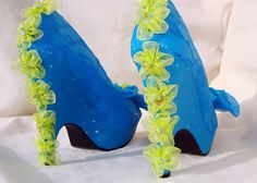 sky blue and lime green size 8 by Tat2Tina on Etsy, $380.00