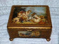 Купить Шкатулка Играющие ангелы - золотой, шкатулка, шкатулка для украшений, шкатулка декупаж, шкатулка для мелочей