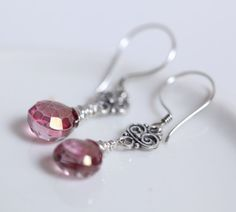 Mystic pink quartz earrings sterling silver Faceted by Phaness, $28.00