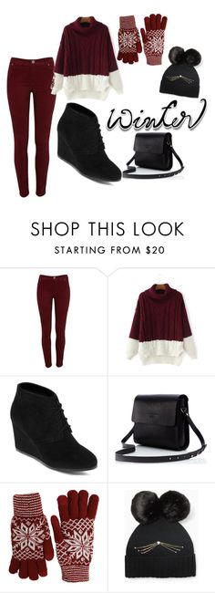 """""""frío"""" by justcami ❤ liked on Polyvore featuring River Island, Arizona, Fits, Kate Spade, Winter, girl, fashionset and winterday"""