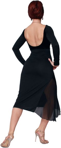 A beautiful black basic tango dress. Made out of soft elastic jersey and the top part out of elastic black velvet. In the split, it has inserted back thin silk, for a sensual see-through effect. Available in sizes:  XS S M L