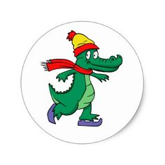 Alligator skating with hat and scarf classic round sticker - fun gifts funny diy customize personal