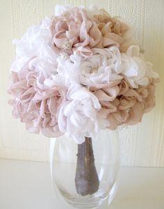 Fabric bridal bouquet, Vintage inspired weddings, Handmade fabric flower bouquet, Chiffon peonies, Rhinestone bouquet. £130.00, via Etsy.