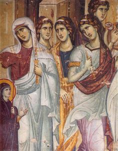 The Entrance of the Most Holy Theotokos into the Temple Icons, Frescoes, Mosaics / OrthoChristian. Fresco, Byzantine Icons, Byzantine Art, Tempera, Russian Icons, Mural Painting, Oil Paintings, Orthodox Icons, Medieval Art
