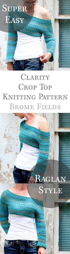 Super easy, raglan style crop top sweater knitting pattern