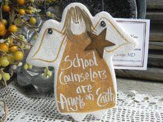 School Counselor Gift Salt Dough Angel by cookiedoughcreations