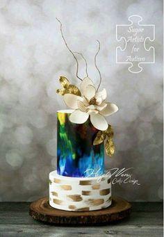 luxury wedding cake designers deep blue shades and white flowers