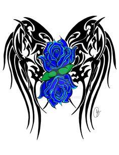 Winged Roses in Blue by jeni-art on DeviantArt - Kostüm Ideen Lila Tattoos, Purple Tattoos, Pretty Tattoos, Flower Tattoos, Body Art Tattoos, Tattoo Drawings, Tribal Tattoos, Tatoos, Nouveau Tattoo
