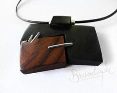 Wooden Necklace. Original Handcrafted: black ebony, rose wood, aluminum, leather cord