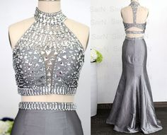 Two Pieces Prom Dresses Halter with Crystals Silver by SarNDresses