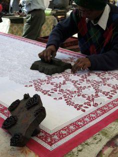 Wood block fabric printing at the Handicraft Haveli artisan market. India