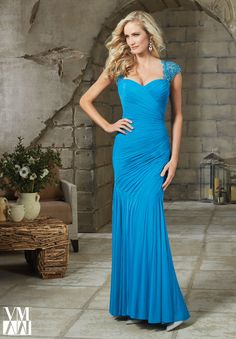71207 Evening Gowns / Dresses Stretch Mesh with Beaded Net