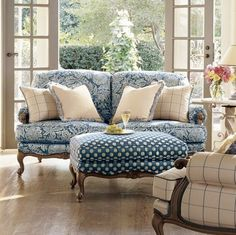 Love the damask,polka dot and check together and love the shape of the furniture, the eclectic mix of pattern and style works really well