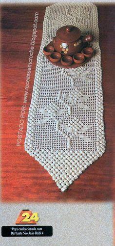 Crochê Gráfico: CAMINHO DE MESA EM CROCHÊ FILÊ