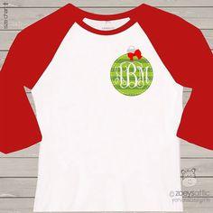 Holiday shirt monogram green Christmas ornament by zoeysattic