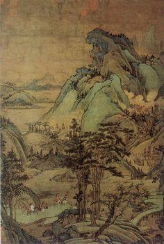 五代-董源-江堤晚景图轴-台北故宫-元摹本   by China Online Museum - Chinese Art Galleries