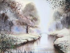 River Light. #etsyshop #EtsyIllustrators #watercolorpainting #watercolorlandscape #landscapepainting #originalwatercolour
